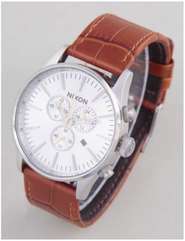 Sentry Chrono Leather Watch - Saddle Gator