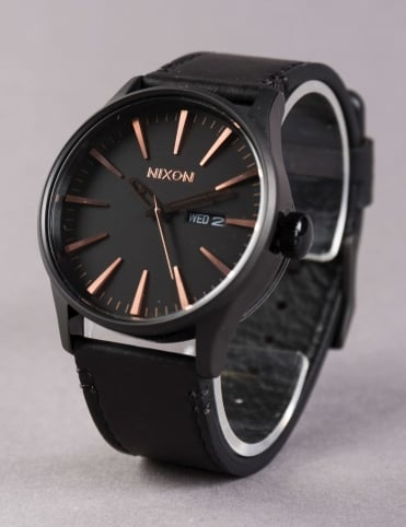 Sentry Leather Watch - All Black/Rose Gold