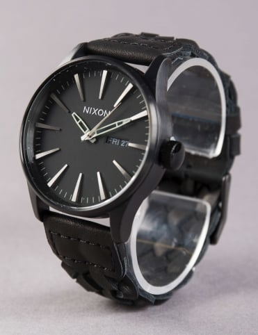 Sentry Leather Watch - All Black Woven