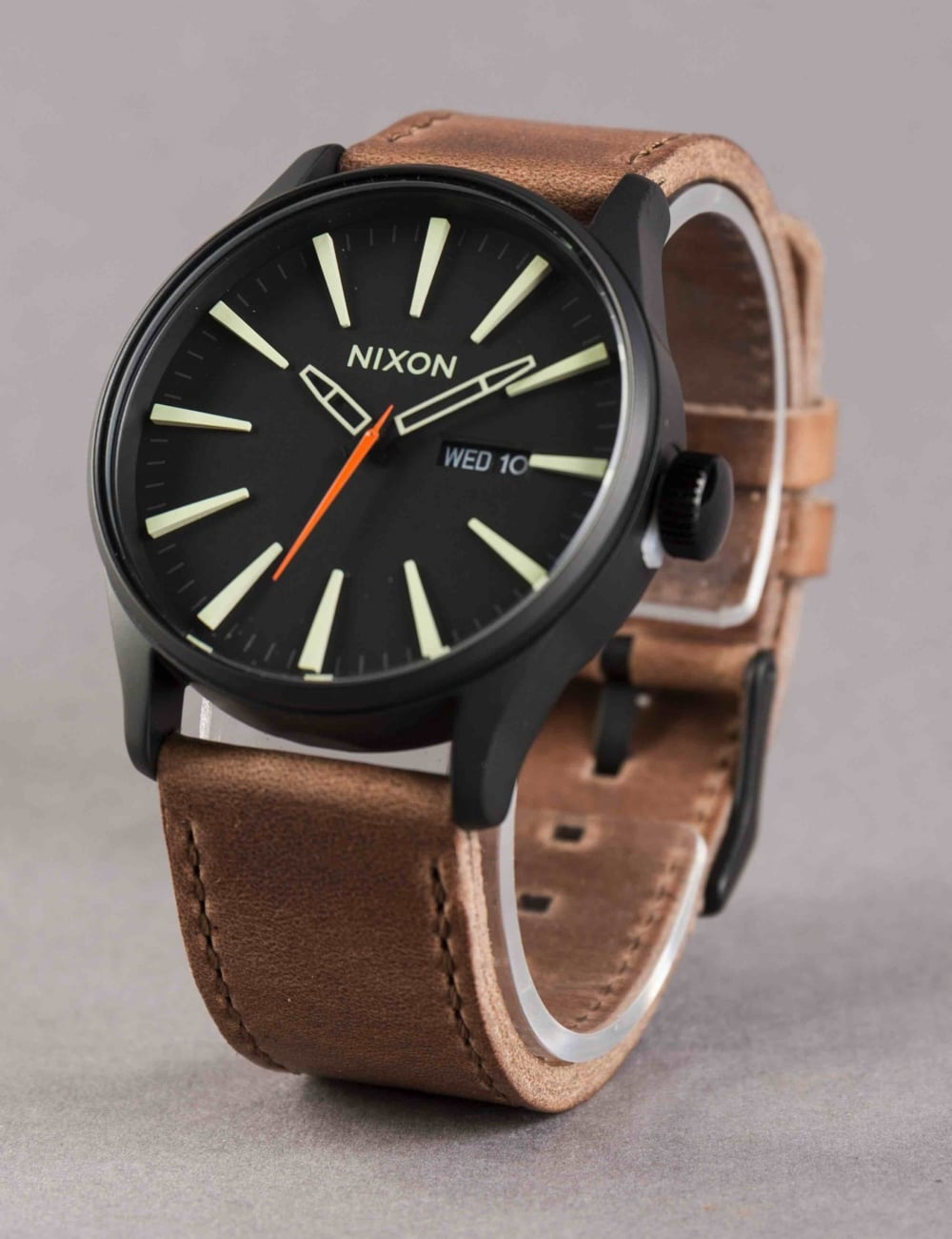 b0e121381 Nixon Sentry Leather Watch - Black/Lum/Taupe - Accessories from Fat ...