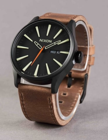 Sentry Leather Watch - Black/Lum/Taupe