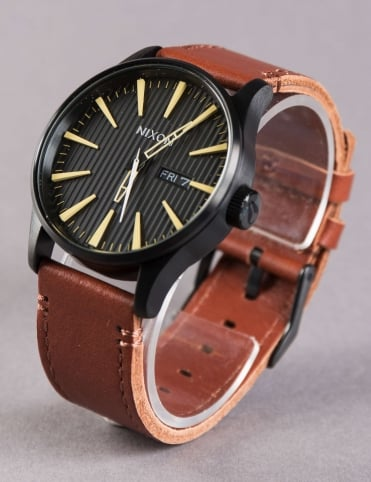 Sentry Leather Watch - Black/Stamped/Brown