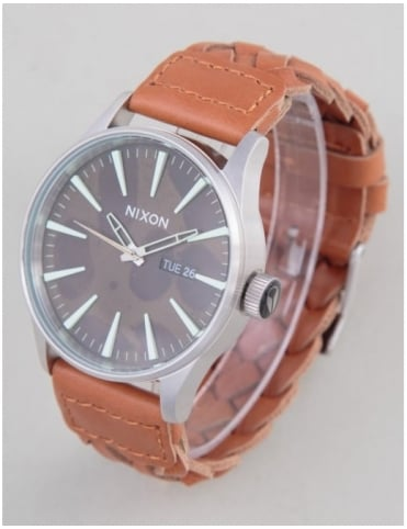 Sentry Leather Watch - Dk Copper/Saddle Woven