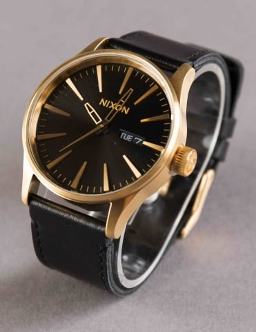 Sentry Leather Watch - Gold/Black