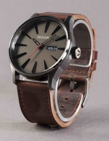 Sentry Leather Watch - Gunmetal/Black/Dk Brown