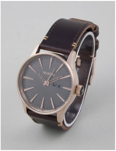 Sentry Leather Watch - Rose Gold/Brown