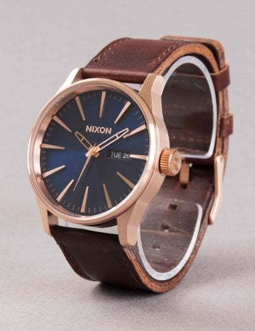 Sentry Leather Watch - Rose Gold/Navy/Brown