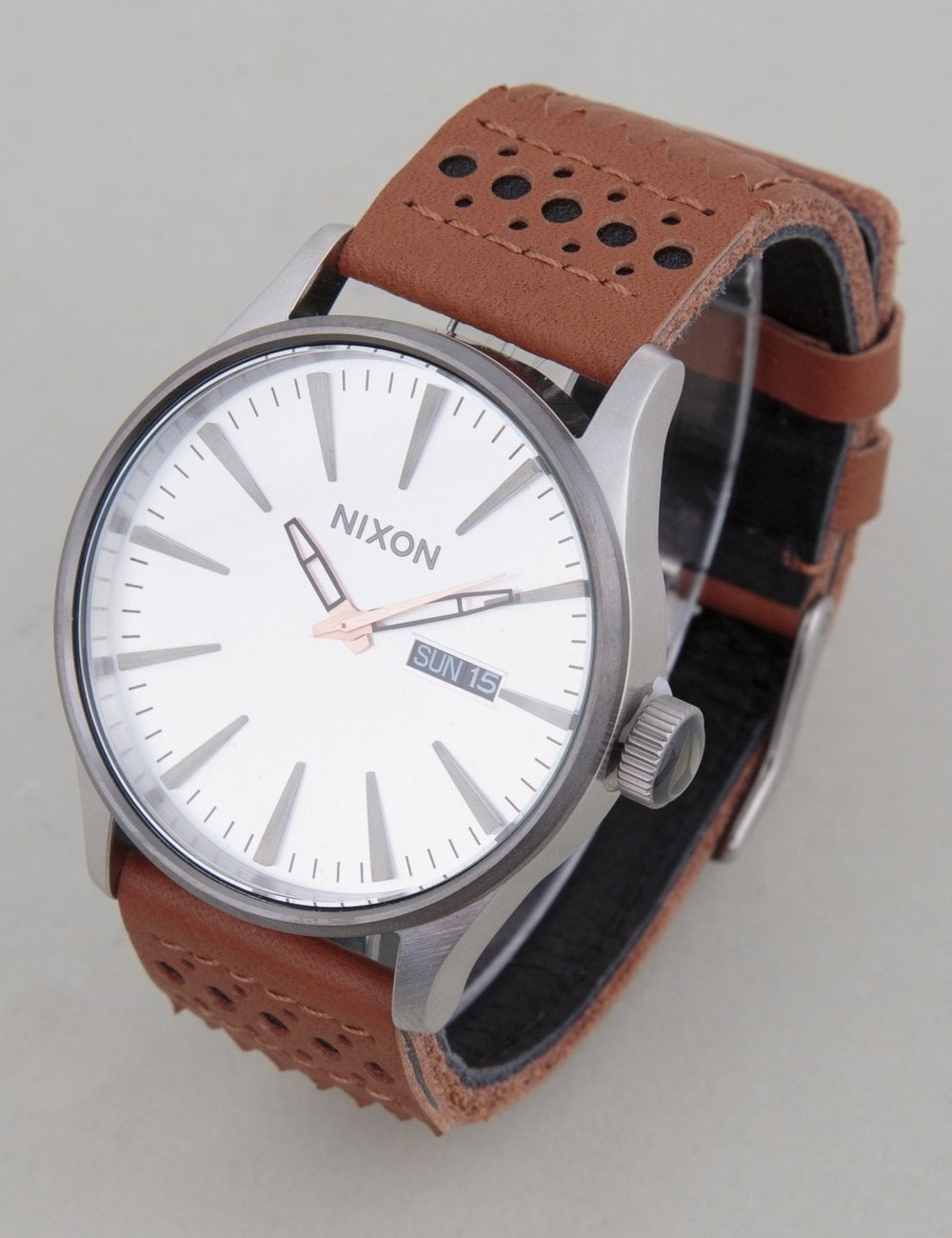 220499a81 Nixon Sentry Leather Watch - Saddle/Silver - Accessories from Fat ...