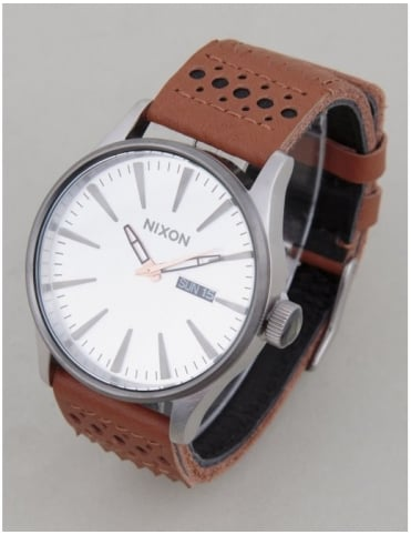Nixon Sentry Leather Watch - Saddle/Silver