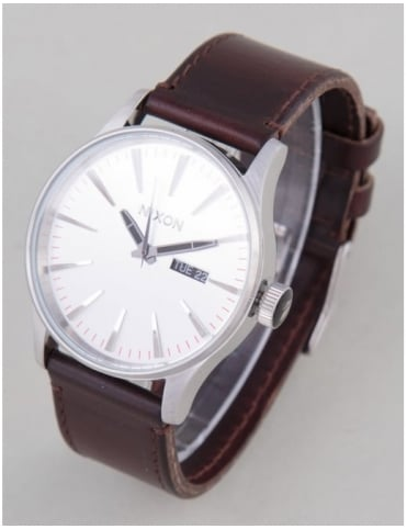 Sentry Leather Watch - Silver/Brown