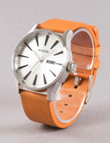 Sentry Leather Watch - Silver/Tan