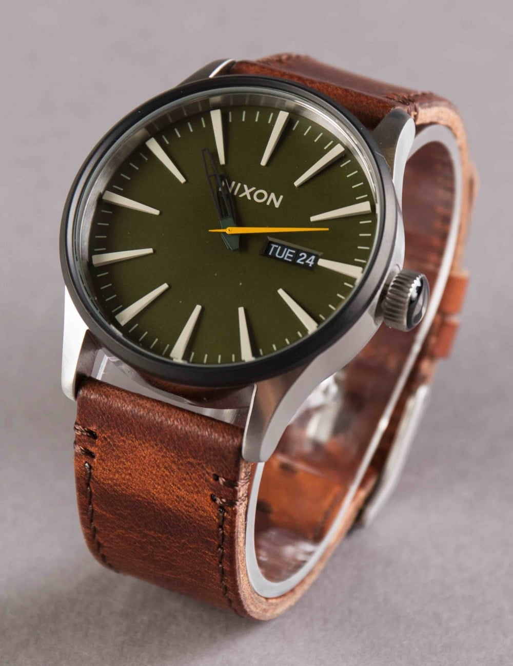 sentry watch brown front gator sunray and nixon leather gold watches zumiez analog oxblood