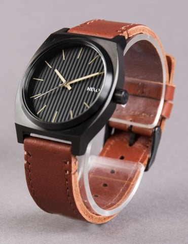 Time Teller Watch - Black/Stamped/Brown