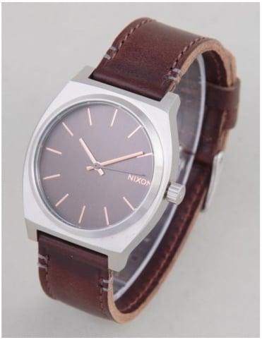 Nixon Time Teller Watch - Gray/Rose Gold/Brown