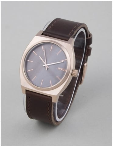 Time Teller Watch - Rose Gold/Gunmetal/Brown
