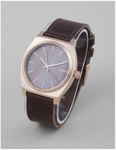 Nixon Time Teller Watch - Rose Gold/Gunmetal/Brown