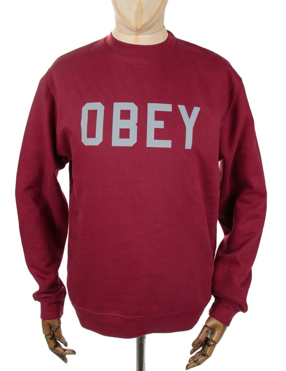 Obey Clothing 3M Collegiate Crewneck Sweatshirt - Cardinal ...