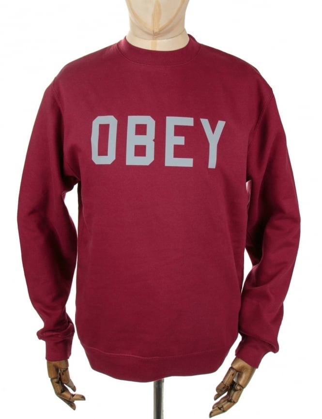 Obey Clothing 3M Collegiate Crewneck Sweatshirt - Cardinal Red