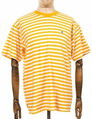 cae19769 Obey Clothing 89 Icon Stripe Box II Tee – Energy Yellow Multi