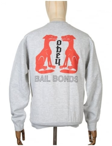 Obey Clothing Bail Bonds Sweatshirt - Heather Grey