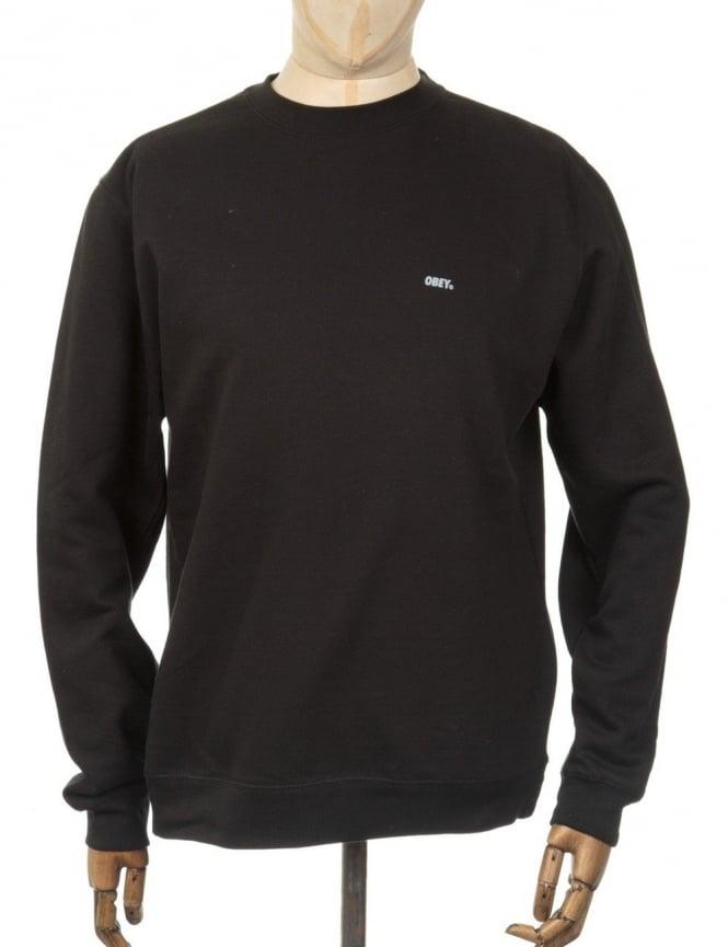 Obey Clothing Font Reflective Sweatshirt - Black