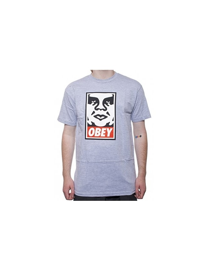 Obey Clothing Icon Face T - Heather Grey
