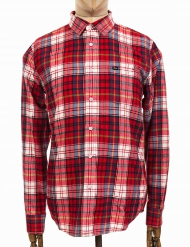 L/S Aiden Woven Shirt - Red