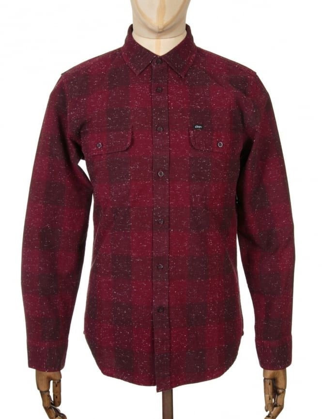 Obey Clothing L/S Drifter Woven Shirt - Burgundy
