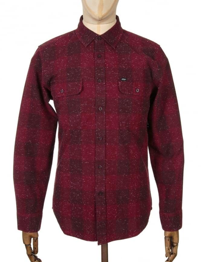 Obey Clothing L/S Drifter Woven Shirt - Burgundy
