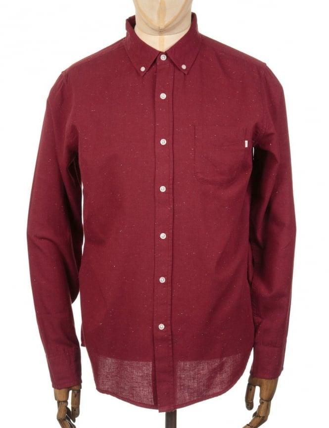 Obey Clothing L/S Norton Woven Shirt - Burgundy