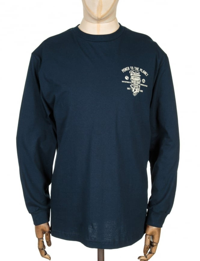 Obey Clothing L/S paint It Black T-shirt - Navy