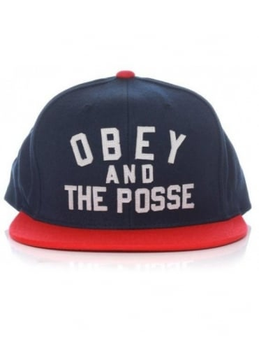 2a21b6fddda Obey And The Posse Snapback Hat - Navy Red