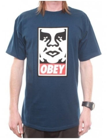 Obey Icon Face Tee - Patrol Blue