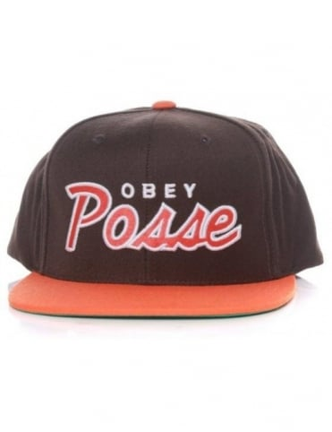 Obey Posse Snapback Hat - Brown/Orange