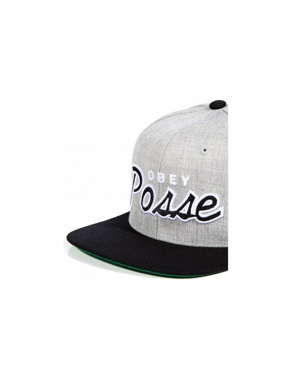6ac3628cc94 Obey Clothing Obey Posse Snapback - Heather Grey Black - Hat Shop ...