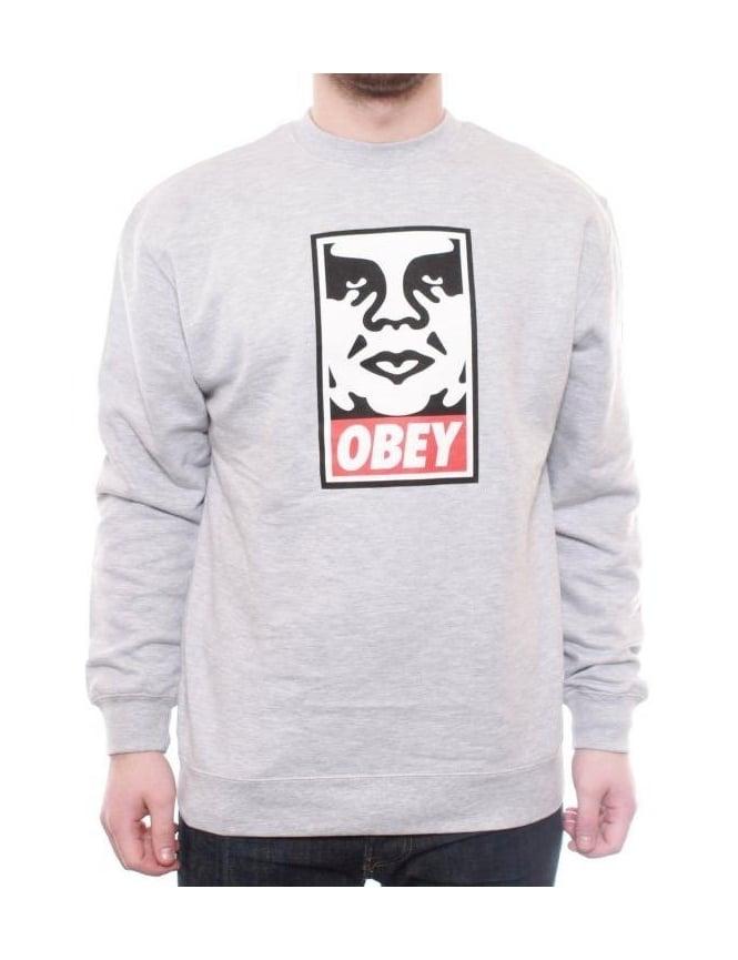 Obey Clothing OG Face Crew - Heather Grey