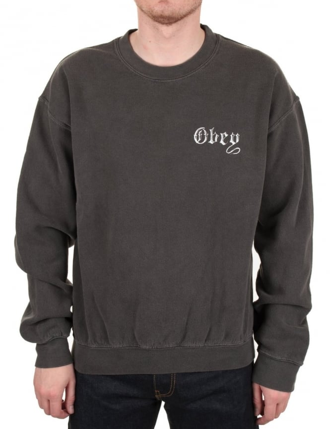 Obey Clothing Pit Bull Crew Sweat - Dusty Black