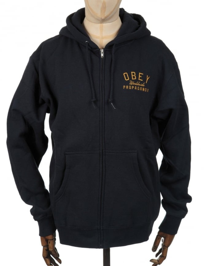 Obey Clothing Pulaski Zip Hooded Sweat - Navy