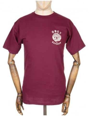 Obey Clothing Tiger Savages T-shirt - Burgundy