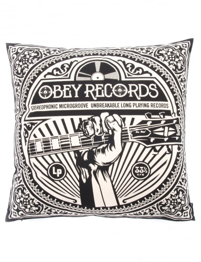 Obey Clothing Unbreakable Records Pillow - Black