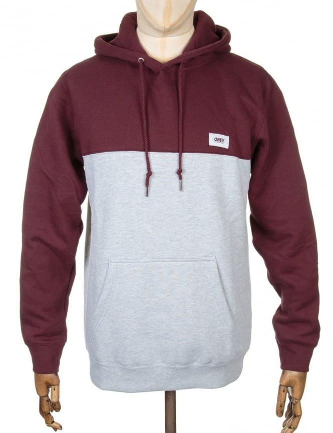 Obey Clothing West Hooded Sweatshirt - Burgundy/Heather Grey