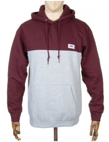 Obey Clothing West Hooded Sweatshirt - Burgundy/Heather Grey