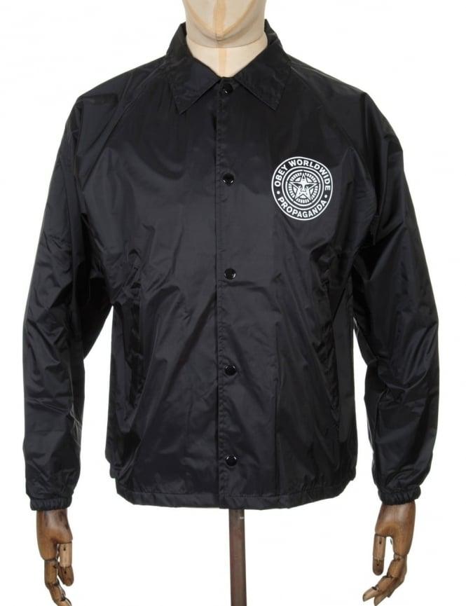 Obey Clothing Worldwide Seal Coach Jacket - Black