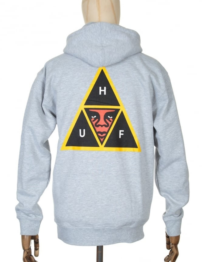 Obey Clothing x Huf Icon Face Hooded Sweat - Heather Grey
