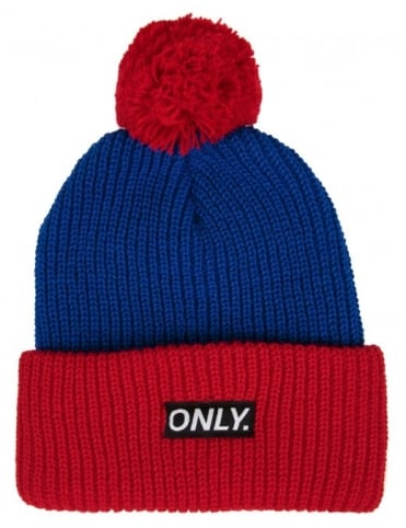 Only NY Clothing Logo Pom Beanie - Royal/Red