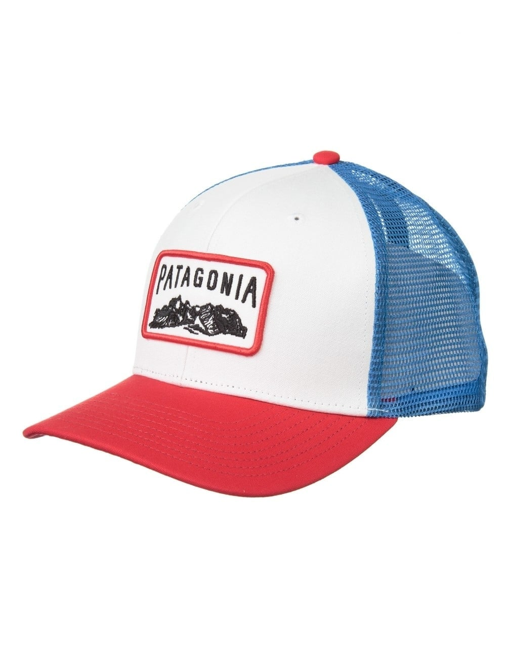 8cc10c7d9a249 Patagonia Climb A Mountain Trucker Hat - White Totally Red ...