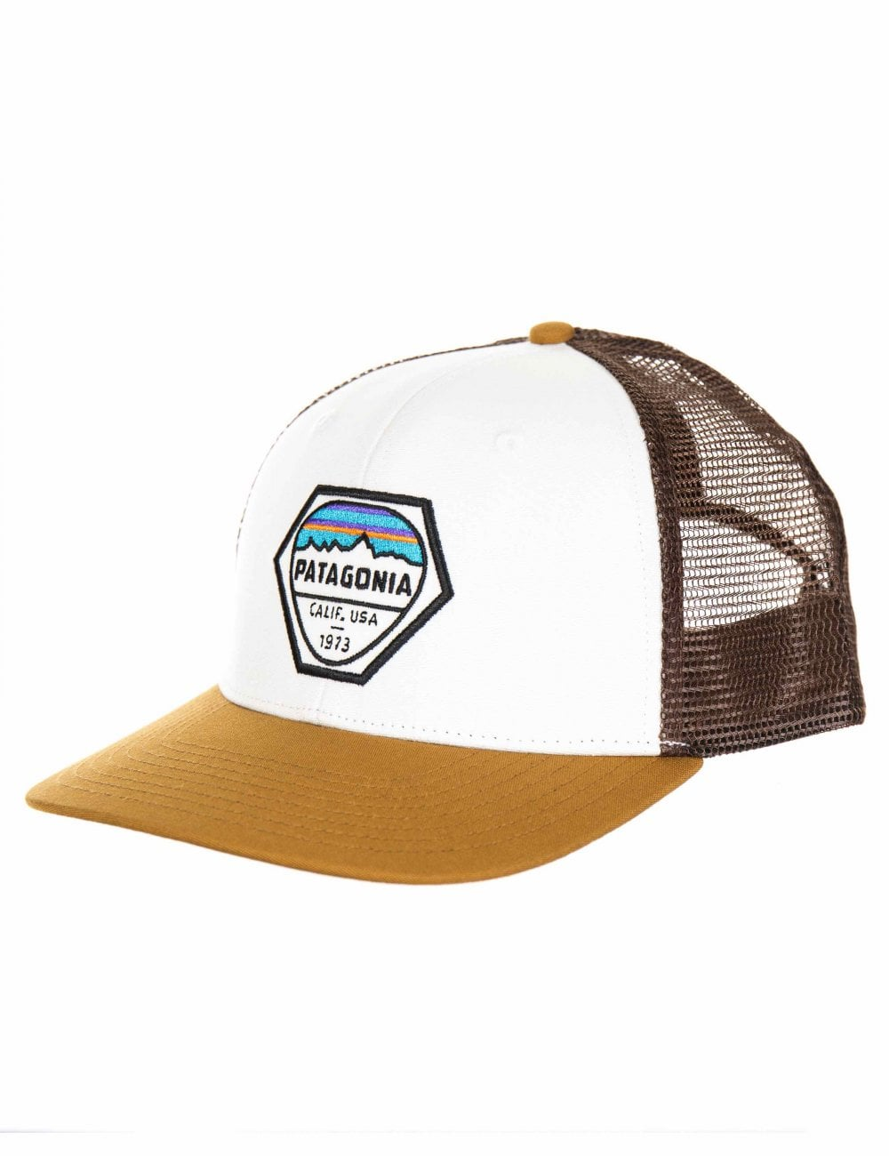 4271a459071ce Patagonia Fitz Roy Hex Trucker Hat - White - Hat Shop from Fat ...