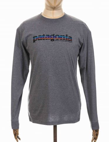 Patagonia L/S '73 Text Logo T-shirt - Nickel
