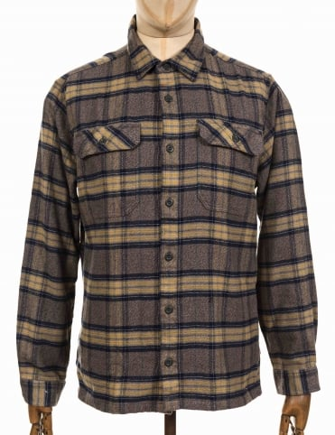 L/S Fjord Flannel Shirt - Migration Plaid: Forge Grey