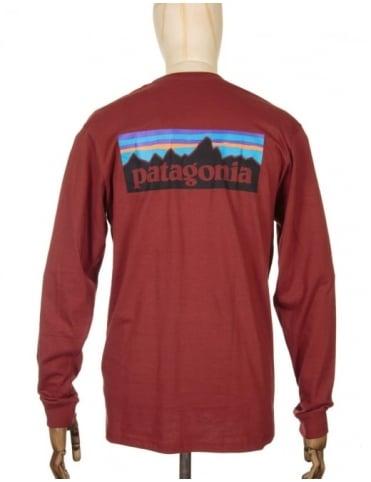 Patagonia L/S P-6 Logo T-shirt - Cinder Red